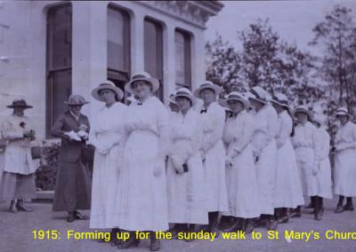 1915 crocodile to St Mary's Church